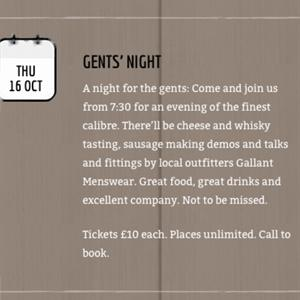 Join us for our Gentlemen's evening